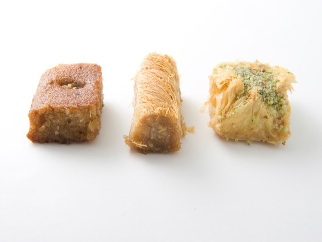 <p>SoomSoom sells baklava, pictured on the right, at its three Manhattan stores.</p>