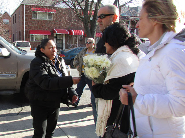 <p>Mourners gather to support Elia Zubizarreta, mother of Miguel Torres, 11, who was killed by a dump truck in December.</p>