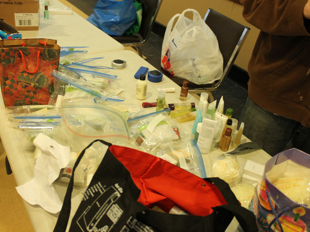 <p>Toiletry bags were prepared for donation to the Ali Forney Center.</p>