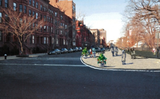 <p>A rendering of how DOT would like Mount Morris Park West to look at 120th Street.</p>