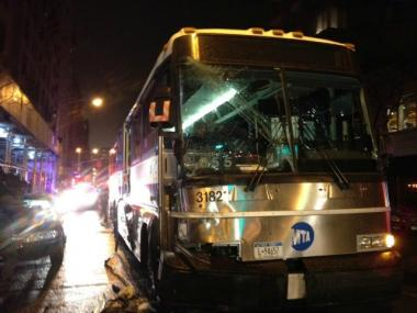 An MTA bus crashed at Madison Avenue and East 85th Street, officials said.