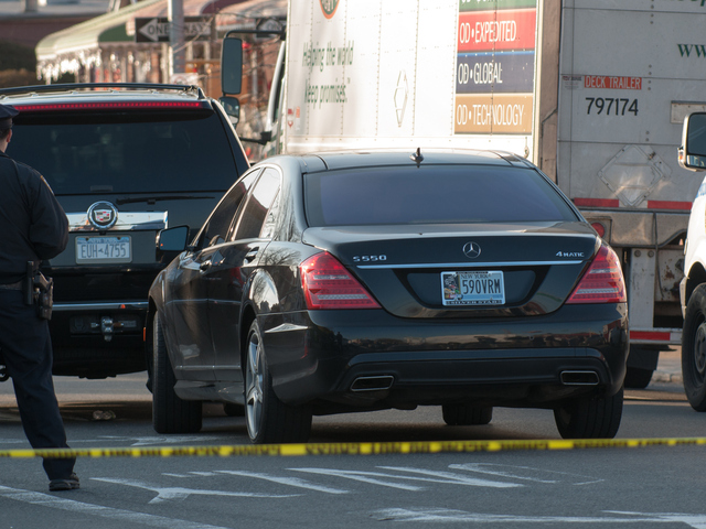<p>A Mercedes S 550 at the scene of a shooting Jan. 8, 2013.</p>