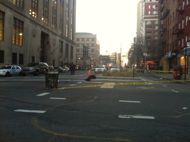 <p>A man was struck by a garbage truck at Ninth Avenue and West 29th Street Jan. 18, 2013.</p>