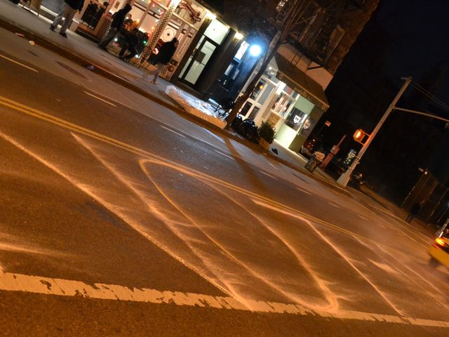 <p>Maria Rosenblum and her 10-year-old daughter Aleda Rosenblum Katz drew anti-7-Eleven slogans in chalk on East Village sidewalks. This is outside a soon-to-be-opened 7-Eleven on Avenue A.</p>