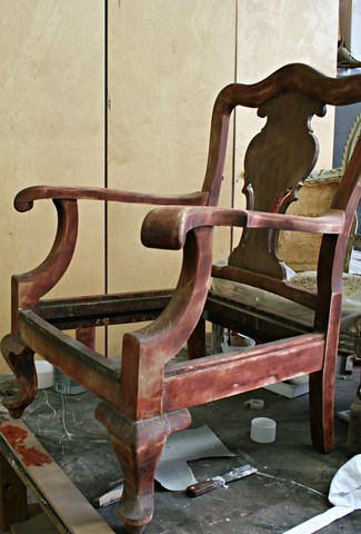 <p>With the chair stripped as much as possible, it is now ready to be repaired and refinished.</p>
