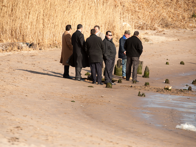 <p>Detectives back at Gerritsen Beach two days after a girl later identified as 14-year-old Shaniesha Forbes was found dead there Jan. 6, 2013.</p>