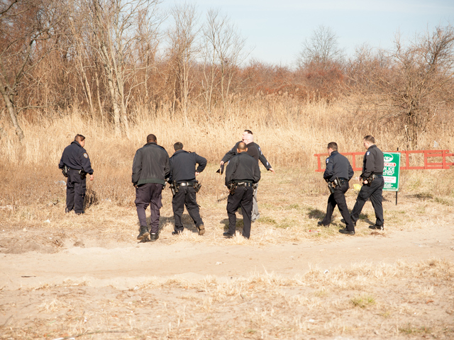<p>Officers prepare to search a large area of brush Jan. 8, 2013.</p>