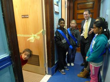 P.S. 124's bathrooms were renovated under City Councilman Brad Lander's participatory budgeting program.