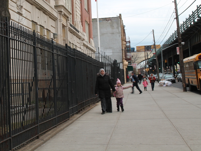 <p>Students arrive at P.S. 85 in Astoria, Queens. The school boasts the borough&#39;s only citywide Gifted &amp; Talented program at its STEM Academy, which emphasizes science, math and technology.</p>