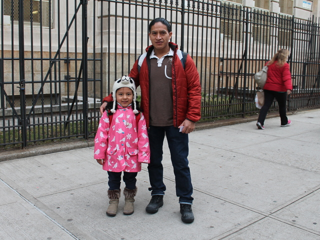 <p>Monica Granda, 6, and father David Granda outside P.S. 85, at 23-70 31st Street in Astoria, Queens.</p>
