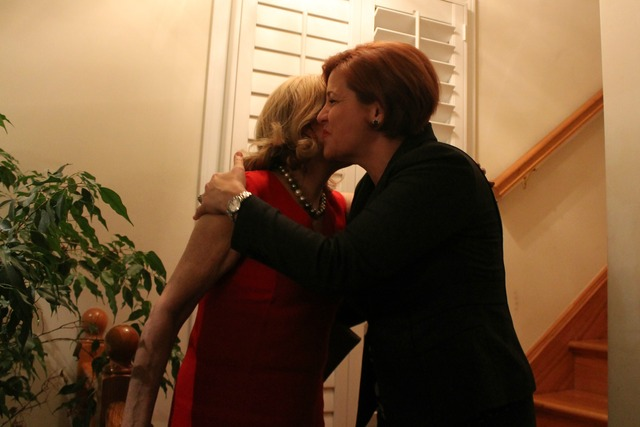 <p>City Council Speaker Christine Quinn embraced Rep. Carolyn Maloney, who said she thought Quinn would make a terrific mayor.</p>