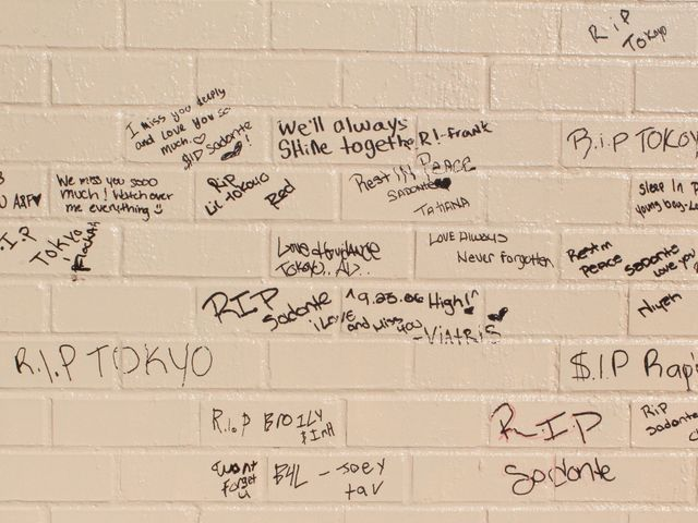 <p>Those mourning the death Raphael Ward wrote messages on a wall near where the teen was shot and killed.</p>