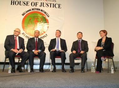The Democratic candidates for mayor: Sal Albanese, Bill Thompson, Bill de Blasio, John Liu and Christine Quinn.