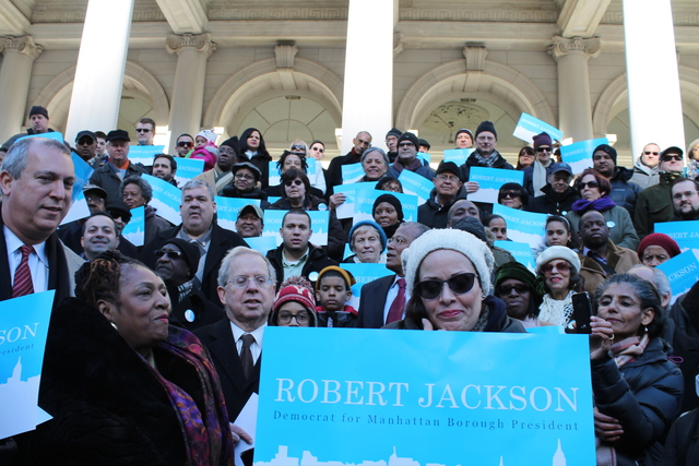 <p>Supporters gathered on City Hall steps with City Councilman Robert Jackson, who officially launched his campaign for Manhattan Borough President on Sun. Jan. 27, 2013.</p>