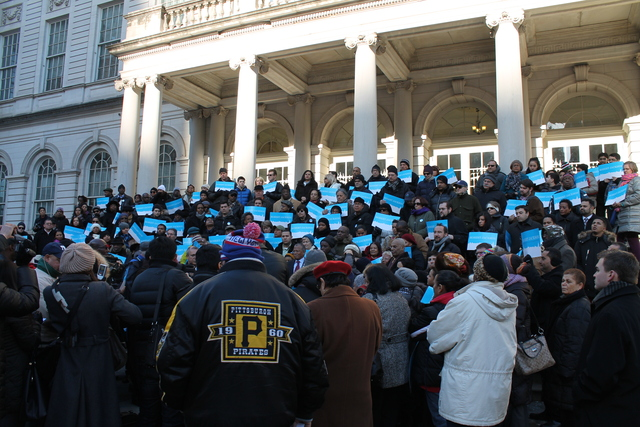 <p>City Hall steps were awash in blue as City Councilman Robert Jackson formally announced his plans to run for Manhattan Borough President on Jan. 27, 2013.</p>