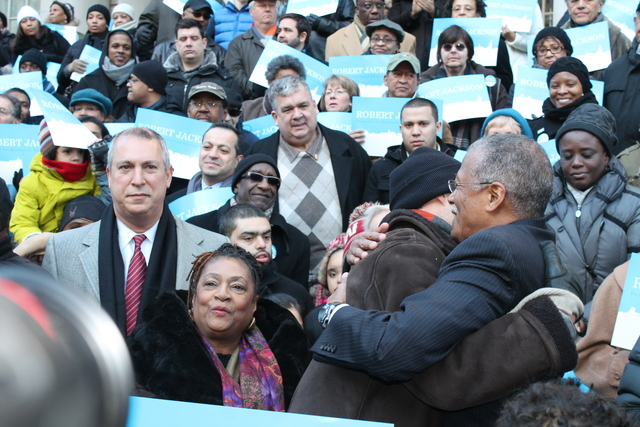 <p>City Councilman Robert Jackson embraces a supporter before officially launching his campaign for Manhattan Borough President on Jan. 27, 2013.</p>