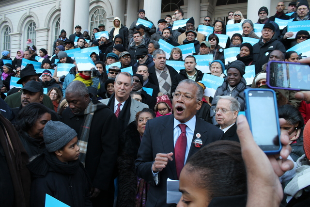 <p>Robert Jackson, surrounded by supporters on the steps of City Hall, as he formally launches his bid for Manhattan Borough President on Jan. 27, 2013.</p>