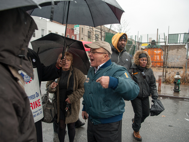 <p>Joe Curzio, who said he worked in the school bus industry, told striking workers demonstrating in East New York to go back to work Wednesday morning, Jan. 16, 2013.</p>