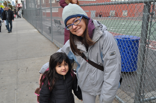 <p>A parent dropped her child off at school at P.S. 132 in 2012.</p>