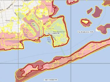 A screen image from the NavTeq interactive maps released by FEMA for the New Jersey and New York metropolitan areas on Monday, Jan. 28, 2013, introducing up to 35,000 new properties that will be designated as flood-zone areas.