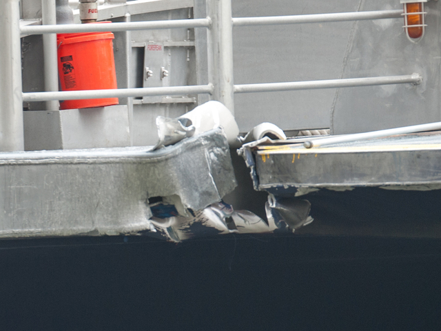 <p>The impact ripped a section of the front steel decking on Wednesday Jan. 9, 2013.</p>