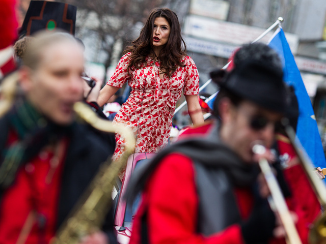 <p>Katerina Auster, a singer with The Goodnight Darlings, performs at the 36th Annual Three Kings Day Parade in East Harlem on Jan. 4, 2013.</p>