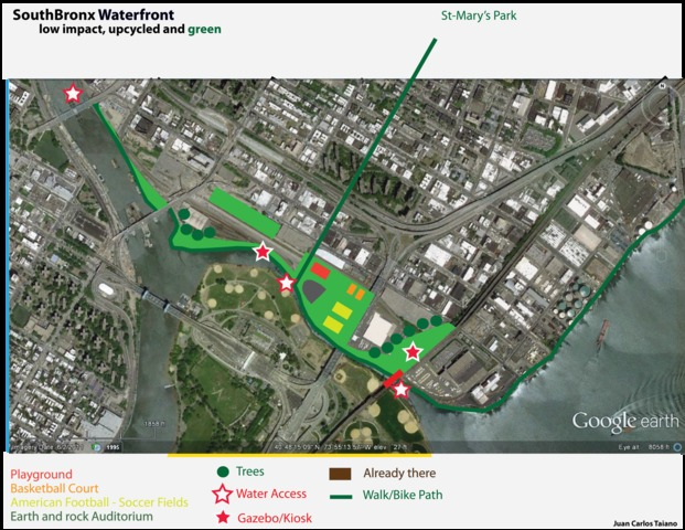 <p>A proposal for the remaining Harlem River Yards space by Mott Haven architect Juan Carlos Taiano. Rather than build a new industrial complex, Taiano suggested converting existing buildings for public use and creating parks in the open spaces.</p>