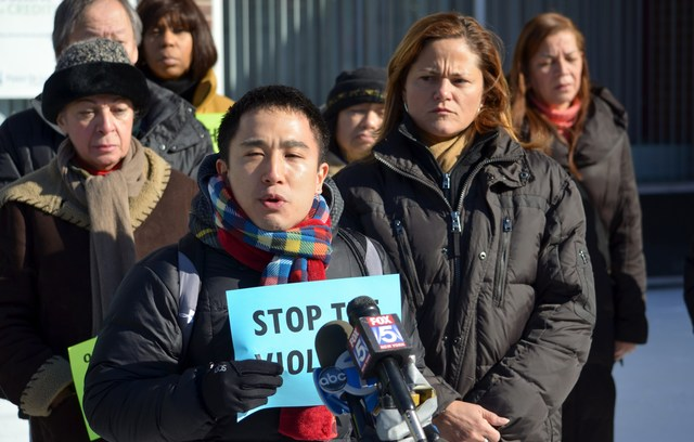 <p>Neighbors from Franklin Plaza in East Harlem speak out against the rash of violent attacks that police are investigating as possible hate crimes against Asian Americans, on Jan. 26, 2013.</p>