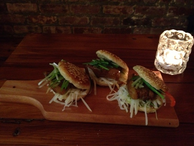 <p>Pork belly sliders at Spring.</p>
