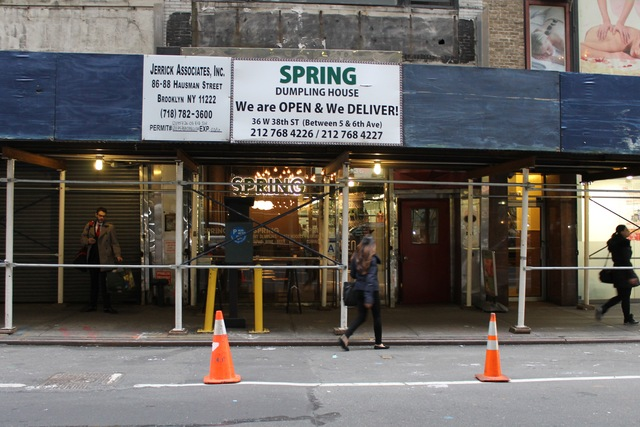 <p>The scaffolding was still covering Spring on Jan. 15, 2012.</p>