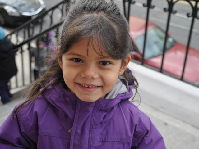 <p>Madison Murray, 6, prepared for a day at P.S. 132 in 2012.</p>