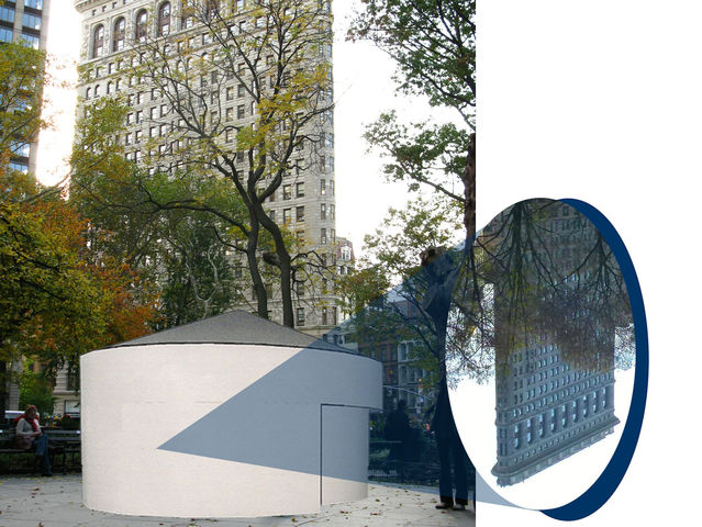 <p>A rendering of Sandra Gibson and Luis Recoder&#39;s &quot;Topsy-Turvy: A Camera Obscura Installation&quot; in Madison Square Park.</p>