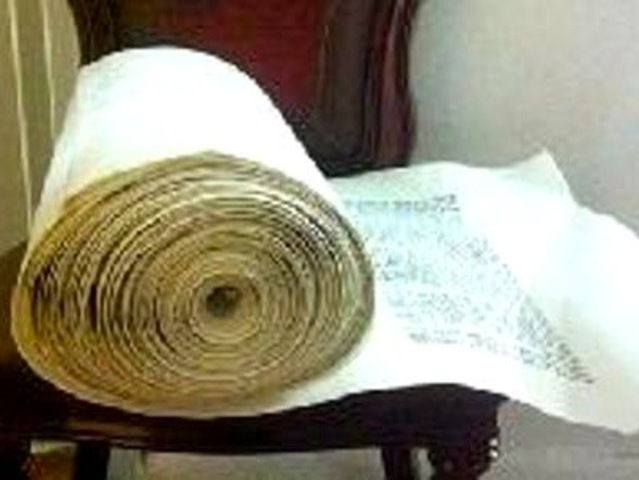 <p>This $30,000 torah was inside of a car when it was stolen in January 2013, police said.</p>