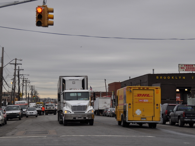 <p>Trucks drove on Maspeth Avenue in WIlliamsburg.</p>
