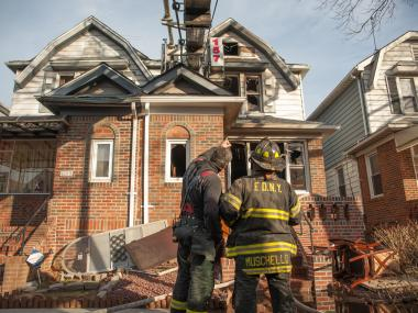 Firefighters responded to a blaze in a two-story home on East 46th Street.