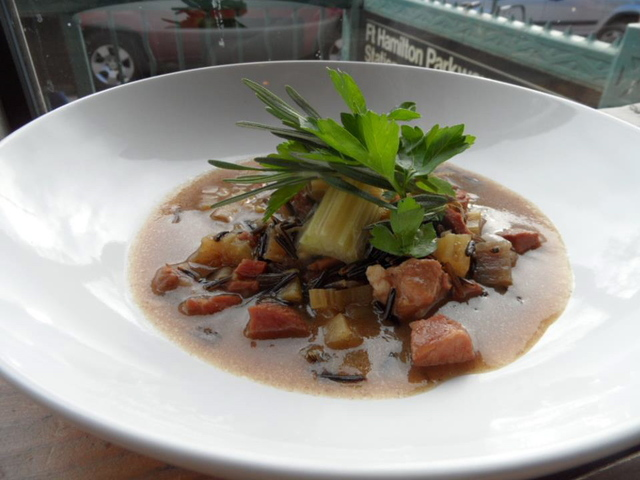 <p>Wild rice, smoked pork and cardoons at Brooklyn Commune, the Windsor Terrace restaurant run by chef Chris Scott.</p>