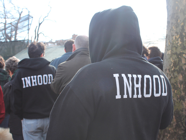 <p>Dozens of Inwood residents wore Alicea&#39;s &quot;Inhood&quot; clothing in honor of the late artist.</p>