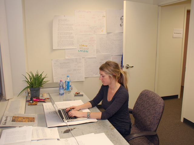 <p>2010-2011 writer-in-residence Molly Prentiss at work in her studio.</p>