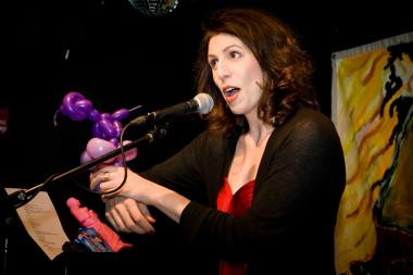 The storytelling show evokes a child's birthday party but mixes in adult humor and fun.