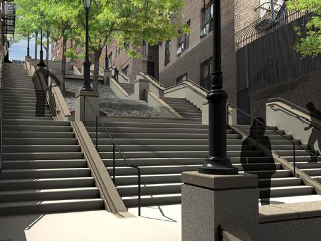 <p>The renovated steps will include new planters, lighting, bike channels and drainage.</p>