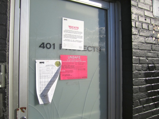<p>The three-story building at 401 West St. was slapped with a red unsafe-to-enter sticker after Hurricane Sandy struck.</p>