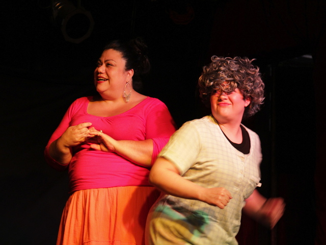 <p>Lisa Perez and Crystal Delahanty performing a sketch from &quot;Night Out&quot; with comedy sketch group the Pin-Up Squirrels.</p>