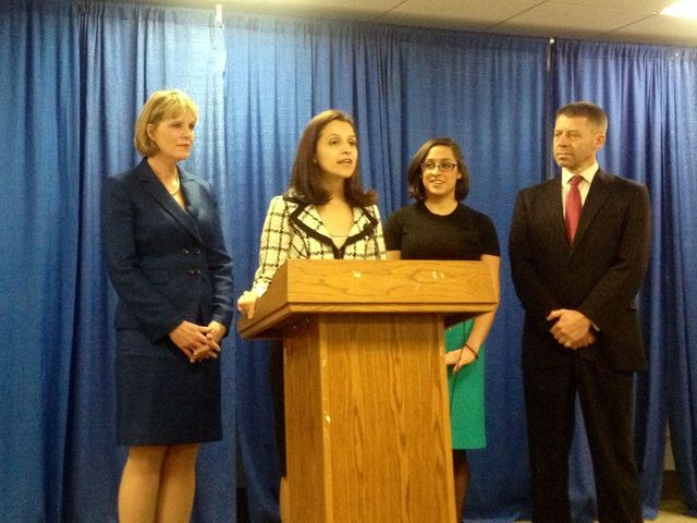<p>Assemblywoman Aravella Simotas speaks at a press conference in Albany on Feb. 12, 2013 in support of a bill to broaden the state&#39;s legal definition of rape.</p>