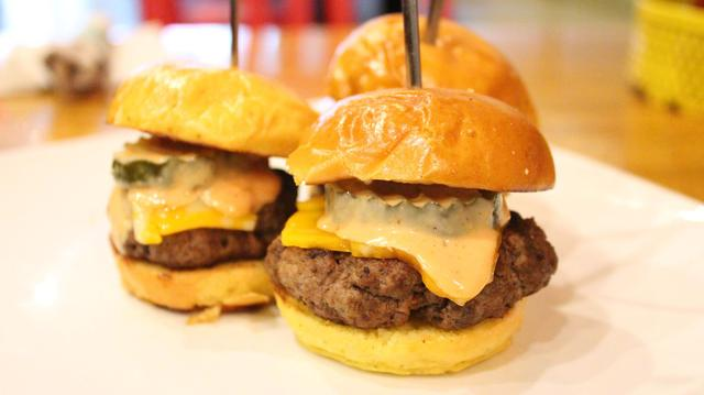 <p>Bareburger&#39;s tasty slider trio.</p>