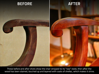 <p>The &#39;before and after&#39; of restoring a chair, first with the wood stripped to a raw state, and then when the wood has been stained and polished.</p>