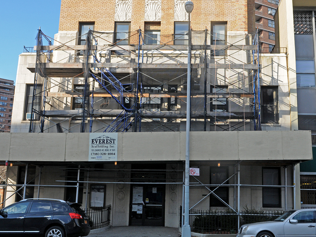 <p>The Bialystoker building has had scaffolding over the entrance on East Broadway since shuttering in 2011.</p>