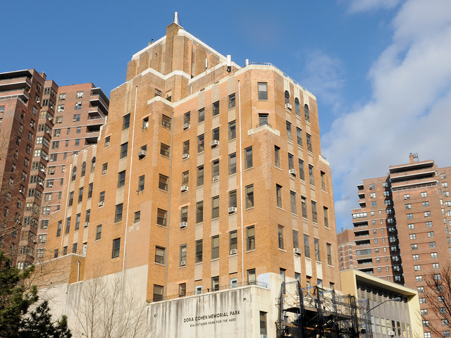 <p>Lower East Side preservationists are trying to get landmark status for the Bialystoker Home for the Aged, an Art Deco depression-era building at 228 East Broadway that may be torn down for development, shown Feb. 12, 2013.</p>