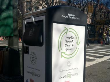A new BigBelly Solar trash can installed by the BID will reduce the need for pickup and prevent rats.