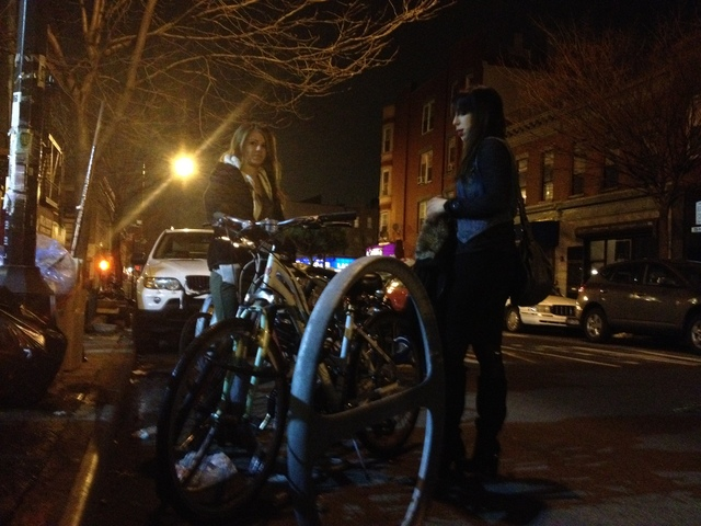 <p>These ladies love the Franklin Avenue bike corral, but many residents aren&#39;t so happy about it. Many neighbors are grinding their gears over the three-month-old racks, decrying the corral as a fly-by-night project intended to attract fixie-riding hipsters to the drag&#39;s coffee shops</p>