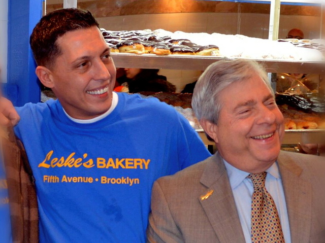 <p>Brooklyn Borough President Marty Markowitz (right) celebrates the opening of the new Leske&#39;s Bakery on Fifth Avenue and Prospect Avenue in Park Slope.</p>